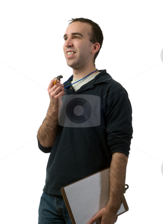 Volunteer Coach stock photo, A young man volunteering to be a coach, isolated against a white background by Richard Nelson