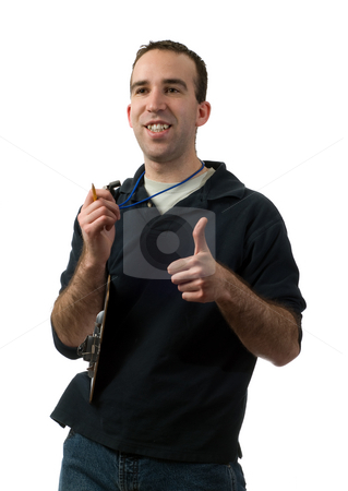 Good Job stock photo, A volunteer coach giving a thumbs up, isolated against a white background by Richard Nelson