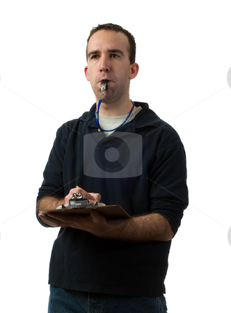 Young Coach stock photo, A young coach making notes on his clipboard, isolated against a white background by Richard Nelson