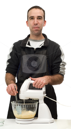 Man Baking Cookies stock photo, A young man using an electric beater to mix up some cookie batter, isolated against a white background by Richard Nelson