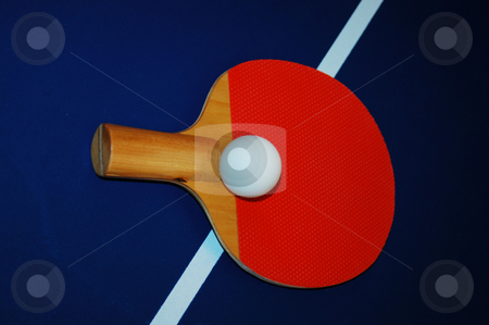 Ping pong set stock photo, Ping pong paddle and ball on a table by Tim Markley