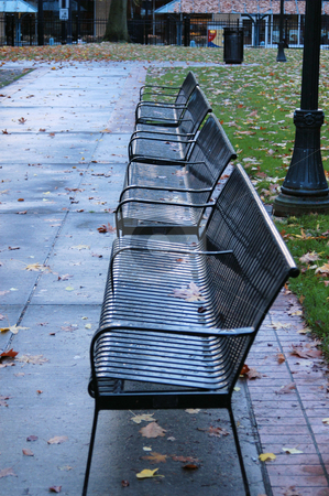 Park bench stock photo, Park bench seats in Portland oregon by Tim Markley