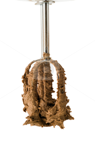 Chocolate Covered Beater stock photo, A beater with chocolate batter on it, isolated against a white background by Richard Nelson