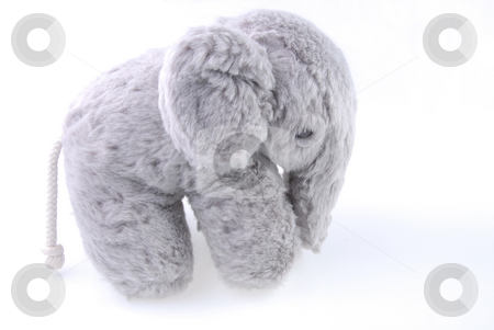 Plush toy stock photo, Plush hand made toy on white background by Joanna Szycik