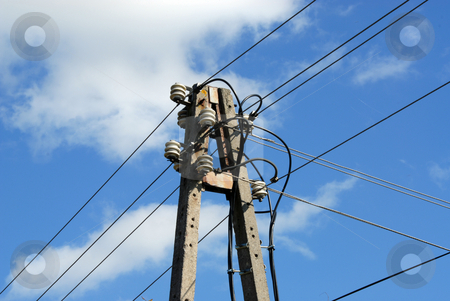 OLD ELECTRICAL WIRES stock photo, Transmission line tower on the blue skies background by Joanna Szycik