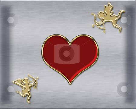 Valentine's cupids stock photo, Valentine's day golden cupids illustration by Desislava Dimitrova
