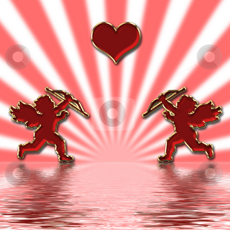 Valentines cupids stock photo, Valentines day red cupids illustration by Desislava Dimitrova