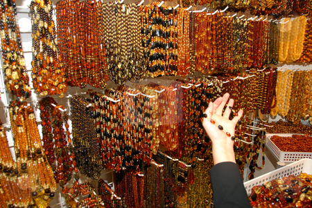 Amber necklaces stock photo, Amber necklaces. Natural beauty of balic sea. by Joanna Szycik