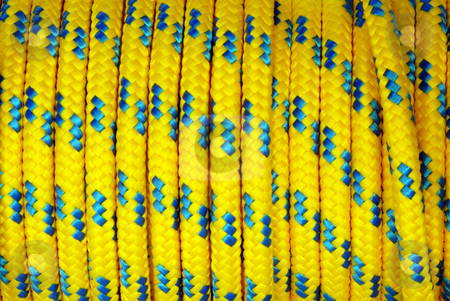 Rope stock photo, Heap of yellow and blue colored plastic ropes by Joanna Szycik