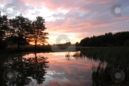 Sunset sky stock photo, Sunset sky over the forest and the lake by Joanna Szycik