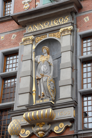 Detail of house facade in Old Town, Gdansk Poland stock photo, Detail statue of house facade in Old Town, Gdansk Poland by Joanna Szycik
