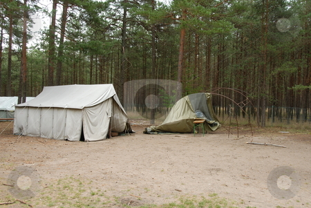 Boy Scout Camp stock photo, Typical campsite at a Boy Scout Camp afret storm by Joanna Szycik