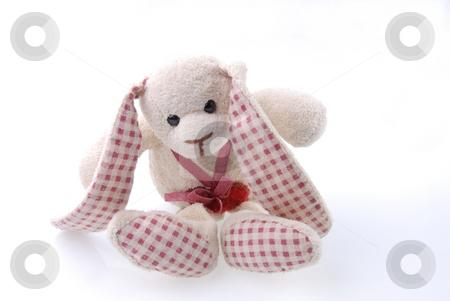 Plush toy stock photo, Plush hand made toy on white background by Joanna Szycik