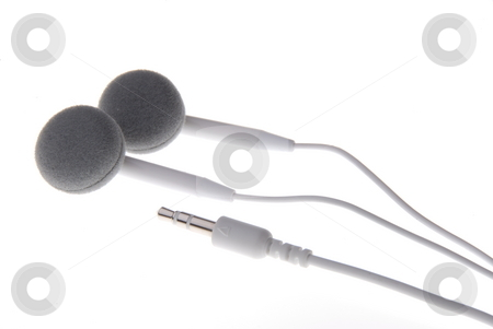 Earphones for mp3-player stock photo, White earphones for mp3-player on white background by Joanna Szycik