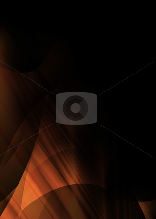 Orange wave corner stock photo, Abstract orange and black background with copyspace by Michael Travers