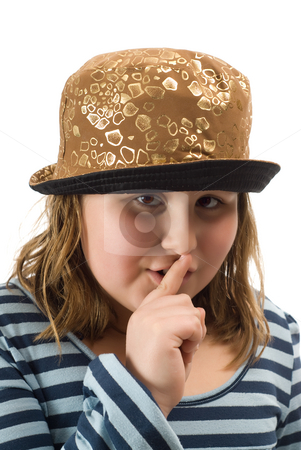 Secret stock photo, A young girl telling someone to keep her secret quite, isolated against a white background by Richard Nelson
