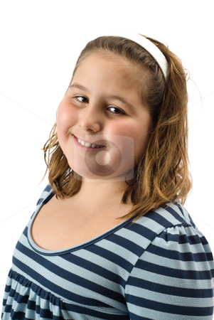Smiling Girl stock photo, A young girl smiling, isolated against a white background by Richard Nelson