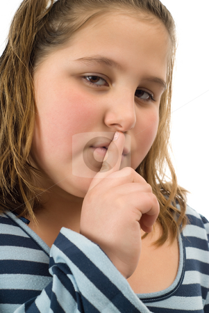 I Have A Secret stock photo, Closeup view of a young child with a big secret by Richard Nelson