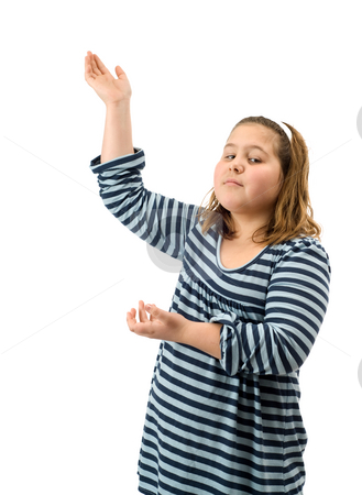 Display stock photo, A young girl displaying your text with her hands, isolated against a white background by Richard Nelson