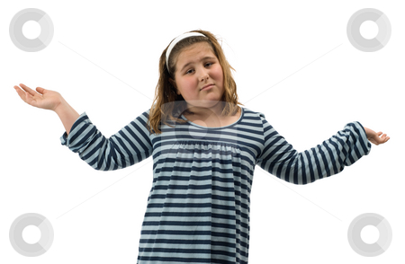 Confused Child stock photo, A young girl with her hands in the air looking confused, isolated against a white background by Richard Nelson