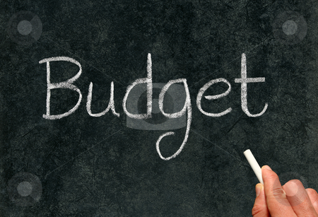 Budget, written with white chalk on a blackboard. stock photo, Budget, written with white chalk on a blackboard. by Stephen Rees