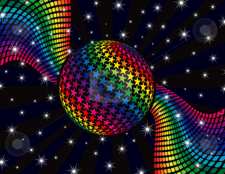 Rainbow Disco Background stock vector clipart, Rainbow Disco Background by Adrian Sawvel