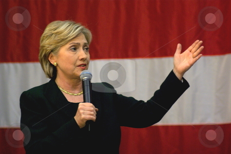 Clinton: New Secretary of State stock photo, Hillary Rodham Clinton, the new Secretary of State in the Obama adminstration speaks to supporters at a political rally.  Clinton, the former New York senator and presidential candidate, was confirmed by the Senate to her new office on Jan. 21, 2009 by Dennis Thomsen