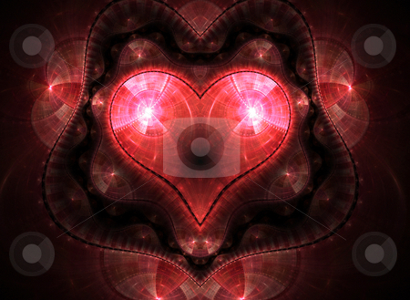Heart Fractal stock photo, A fractal heart shape background with lots of copy space. by Todd Arena