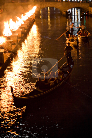 Gondolas at Night stock photo, Gondolas on the canal at night during a Providence Rhode Island WaterFire event. by Todd Arena