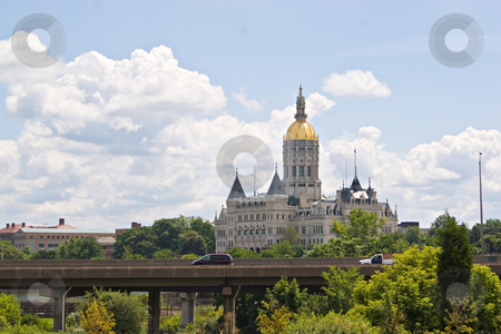 Hartford Capitol Building stock photo, The golden-domed capitol building in Hartford, Connecticut. by Todd Arena