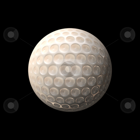Gold Ball stock photo, A white golf ball isolated over a black background. by Todd Arena