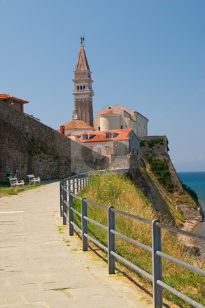 St. George Cathedral stock photo, St. George Cathedral on the hill over city Piran in Slovenia. by Ziga Camernik