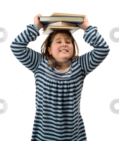School Stress stock photo, Young girl with a heavy workload from school, isolated against a white background by Richard Nelson
