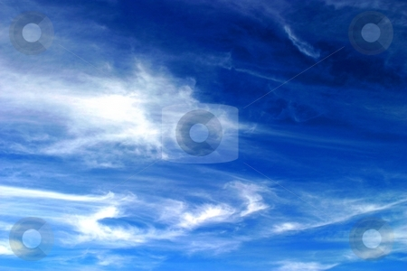 Sky stock photo, Beautiful blue sky with soft white clouds by Henrik Lehnerer