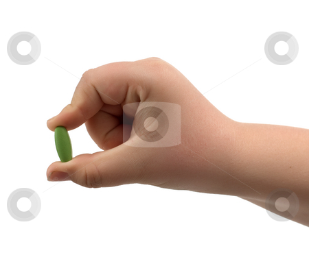Pill stock photo, Closeup view of a hand showing off a single pill tablet, isolated against a white background by Richard Nelson