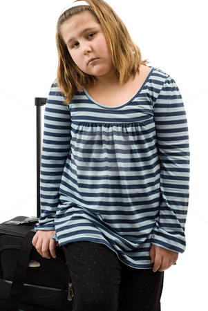 Run Away Child stock photo, A run away child with her luggage, isolated against a white background by Richard Nelson