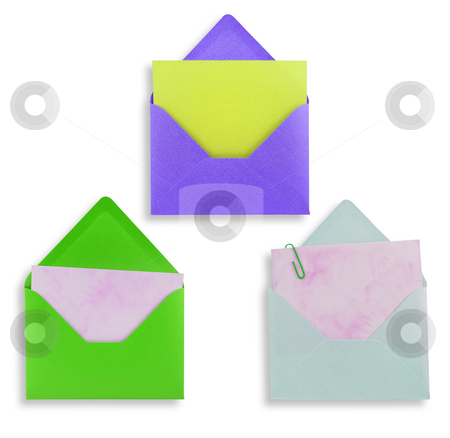 Assorted open envelopes isolated stock photo, Assorted open envelopes isolated on white background, path provided. by Pablo Caridad