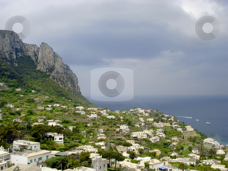 Capri coastline stock photo, Capri countryside viewed from high above looking down on the rocky coast line. by Robert Ranson