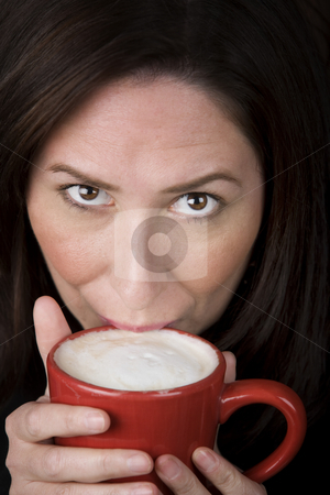 Woman with Coffee stock photo, Woman with coffee specialty drink in a red cup by Scott Griessel