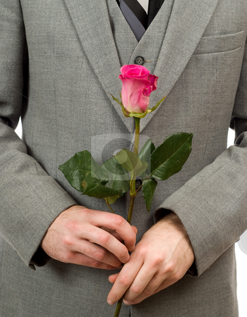 Rose and Suit stock photo, Closeup view of a man wearing a suit holding a rose by Richard Nelson