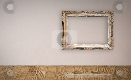 Electric outlet in old wall. stock photo, Picture frame over an old wall interior. Clipping path provided. by Pablo Caridad