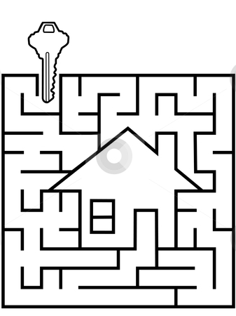 Home Finder maze puzzle with house key stock vector clipart, A real estate home finder maze home puzzle with a house key at the entrance. by Michael Brown