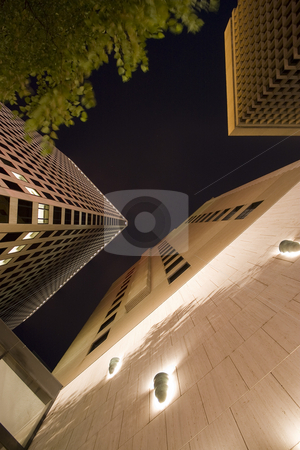 Night Architecture stock photo, Modern buildings shot from a low angle during the evening. by Todd Arena