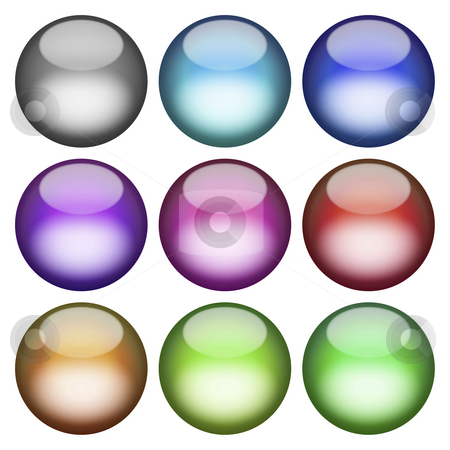 3D Buttons Pack stock photo, A collection of pastel colored 3d spheres that will work great as buttons or icons. by Todd Arena