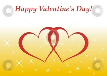 Valentine's Day card stock photo, Valentine's Day card - illutration of two red hearts intersected by Mihai Zaharia