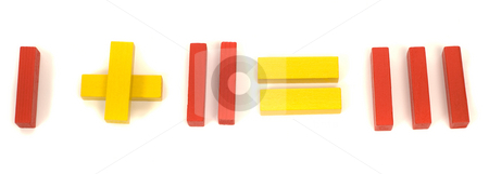 Simple Math stock photo, Red and yellow blocks spelling out that 1 and 2 equals 3 by Richard Nelson