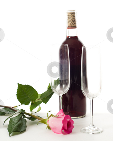 Romantic Setting stock photo, A romantic table top setting for two, shot against white by Richard Nelson