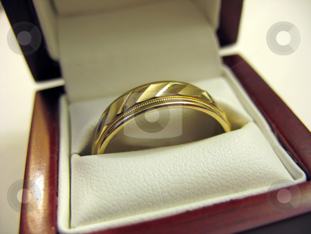 Mens Wedding Band stock photo, A yellow gold mens wedding band inside its box. by Todd Arena