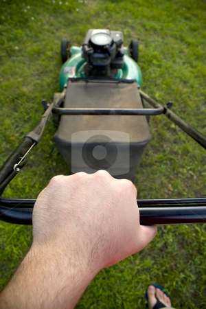 Pushing the Lawn Mower stock photo, The interesting point of view from a man pushing a lawn mower. by Todd Arena