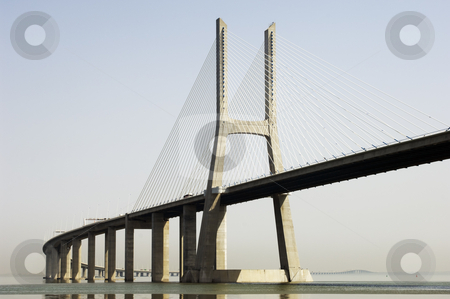 Modern bridge stock photo, Vasco da Gama bridge over Tagus river, Portugal by Manuel Ribeiro